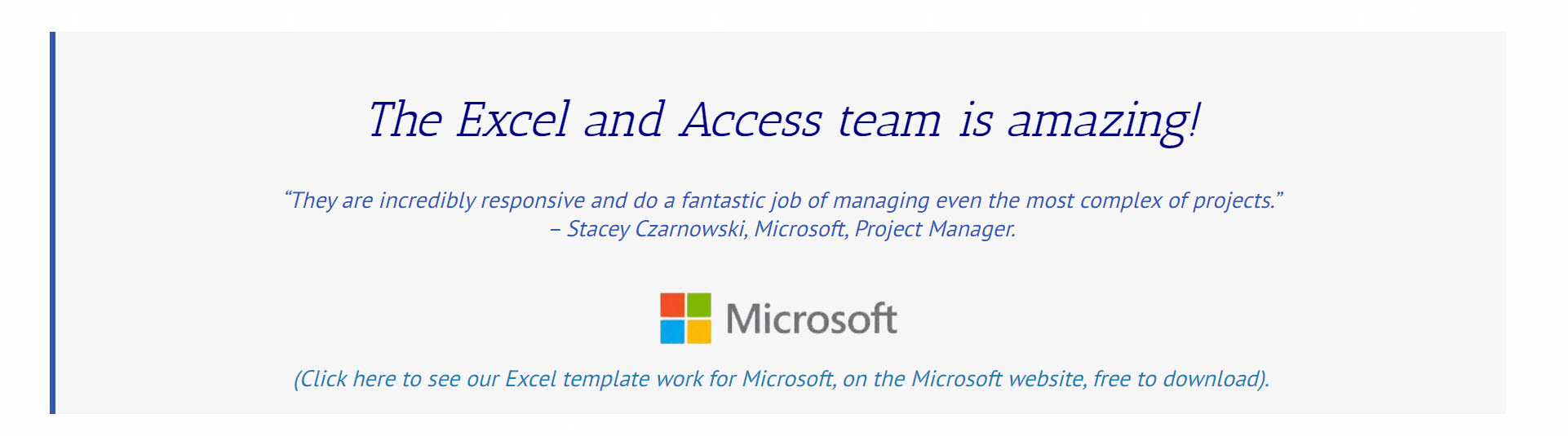 Image of testimonial Microsoft wrote on our work for them