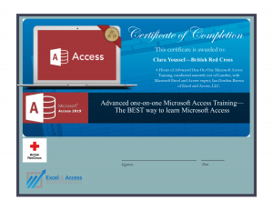 One-on-one Microsoft Access training, certificate.