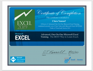 One-on-one Microsoft Excel training, certificate.