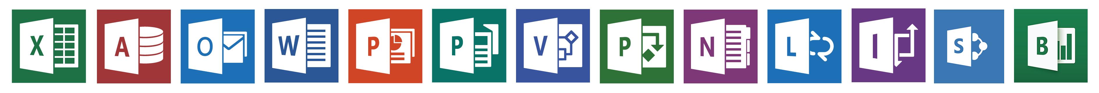 Logos of Microsoft applications we work in.